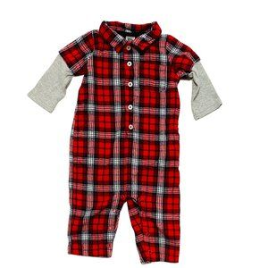 Carter's Red Flannel 1-Piece w/Waffle Knit Sleeves